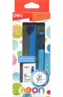 """Ручка перьевая """"Neon"""", синие чернила, синий (+ картриджи) (EQ80100)"""