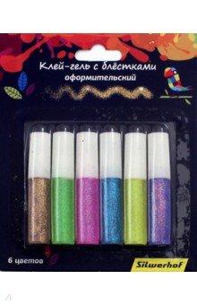 Клей-гель 6 цветов, супер блеск Цветландия (899104) клей оформительский классический с блестками 5 цветов 20637