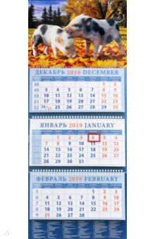 Календарь квартальный на 2019 год Год поросенка. Забавные малыши (14909)