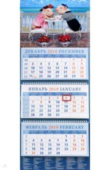 Календарь квартальный на 2019 год Год поросенка. Сладкая парочка на море (14919)