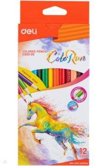 Карандаши цветные ColoRun (12 цветов, трехгранные) (EC00300) карандаши colorrun 12 цветов трехгранные ec00100