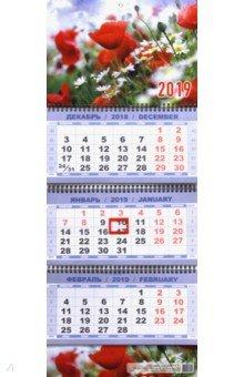 Zakazat.ru: Календарь квартальный на 2019 год Маки с ромашками (КВК-2).