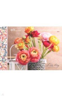 """Альбом для рисования """"Цветы в резной вазе"""" (40 листов, А4) (40-3325)"""