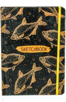 """Скетчбук """"Оранжевые рыбы"""" (А5, 80 листов, нелинованный) (80-1616)"""