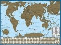 Карта мира с флагами. Со стираемым слоем. В тубусе