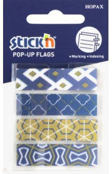 """Закладки самоклеящиеся пластиковые """"Pop-Up"""" (20 листов, 42х15 мм, 4 цвета, синие узоры) (26084)"""