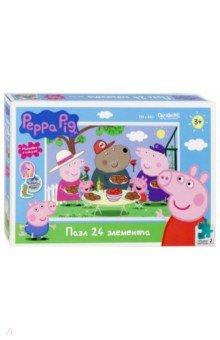 Пазл-24 Peppa Pig. Отдых на природе (04286), Оригами, Пазлы (15-50 элементов)  - купить со скидкой