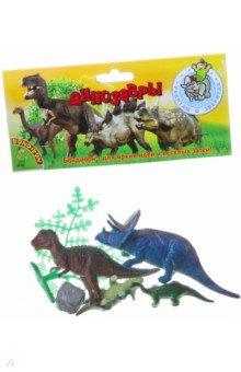 Купить Набор животных Динозавры 4 штуки + деревце (ВВ1619), BONDIBON, Животный мир