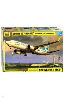 Купить Пассажирский авиалайнер Боинг-737-8 МАХ (7026), Звезда, Пластиковые модели: Авиатехника (1:144)