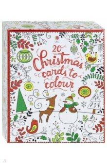 Купить 20 Christmas cards to colour, Usborne, Художественная литература для детей на англ.яз.