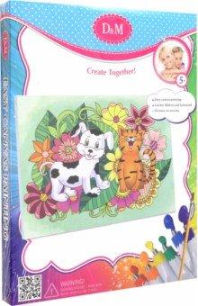 Купить Набор для росписи по холсту Кот и Пес (18х24 см) (33712), D&M, Роспись по ткани