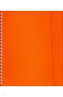"""Тетрадь """"Diamond Neon"""", оранжевая, 80 листов, клетка, пластиковая обложка (80Т5Вр1гр_02035)"""