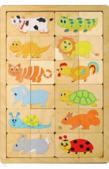 Купить Игра-пазл развивающая деревянная Веселые половинки (00725), Десятое королевство, Развивающие рамки