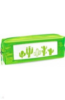 """Пенал школьный """"Зелёный кактус"""" (одно отделение, без наполнения) (48897)"""