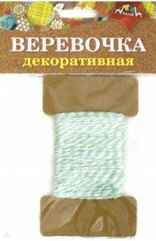 Купить Декоративная веревочка двухцветная: зеленая с белым (С5066-06), АппликА, Скрапбук