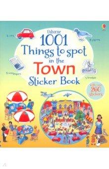 Купить 1001 Things to Spot in the Town Sticker Book, Usborne, Книги для детского досуга на английском языке