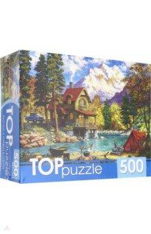 Купить TOPpuzzle-500 Домик у озера в горах (ХТП500-6819), Рыжий Кот, Пазлы (400-600 элементов)