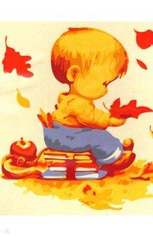 Купить Холст для рисования по номерам Малыш и листопад (30х40 см) (KTL505), Рыжий Кот, Создаем и раскрашиваем картину