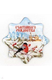 """Магнит со смолой 5х5см """"Рождество Христово/Снегирь"""""""