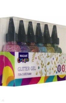 Купить Гель с блёстками Glimmer (6 цветов по 40 мл) (M-5666B), MAZARI, Сопутствующие товары для детского творчества