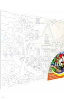 Купить Холст с красками для рисования по номерам Красивый дом у озера , 30х40 см (ХК-0410), Рыжий Кот, Создаем и раскрашиваем картину