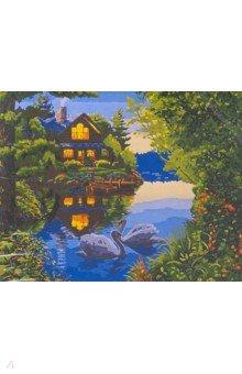 "Рисование по дереву ""Дом у озера"", 40х50 см (FLA026) ()"