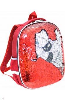 Купить Ранец Кошка красный с пайетками (830852), Silwerhof, Ранцы и рюкзаки для начальной школы