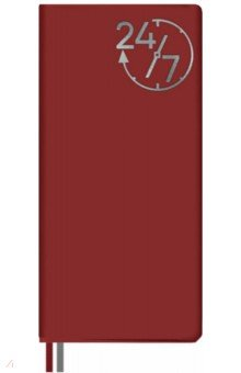 Ежедневник недатированный (56 листов, 77х150 мм, линия, мягкий переплет, ПВХ, красный) (52765) ()