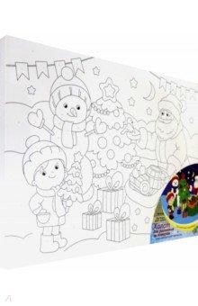Купить Холст с красками 30х40 см Дед Мороз дарит подарки (Х-1252), Рыжий Кот, Создаем и раскрашиваем картину