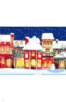 Купить Холст 30х40 см Яркие новогодние домики (Х-4944), Рыжий Кот, Создаем и раскрашиваем картину