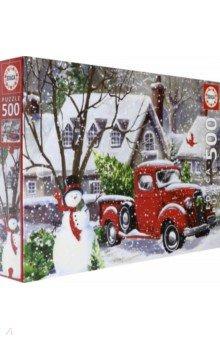 Купить Пазл-500 деталей Снеговик и красный грузовик (18958), Educa, Пазлы (400-600 элементов)