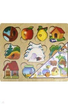 Купить Развивающая доска Где чей домик? (дерево, 2 слоя) (7993), Нескучные игры, Другие игрушки для малышей