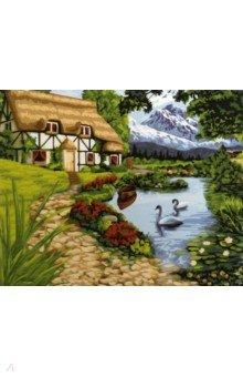 Купить Картина по номерам ДЕРЕВЕНСКИЙ ДОМИК 40х50см (M-1866), MAZARI, Создаем и раскрашиваем картину