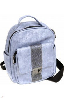 Купить Рюкзак серо-голубой, искуственная кожа, одно отделение, 29х24х10 см. (46665), Феникс+, Рюкзаки школьные