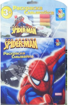 Раскраска-смывайка Spider-Man 6 фломастеров (Т54753)