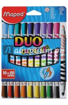 Купить Фломастеры двусторонние COLOR'PEPS DUO. 20 цветов. 10 штук (847010) ISBN: 3154148470106