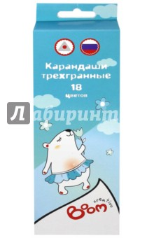 Купить Карандаши цветные, трехгранные Creativo , 18 шт. (0101-1518) ISBN: 4606998750291