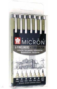 Набор кап.ручек Pigma Micron 6шт+1 Brush (POXSDK7)