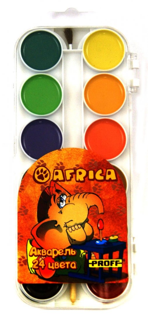 """Иллюстрация 1 из 6 для Краски акварельные медовые 24 цвета """"Africa""""с кисточкой (AF12-2A24K_438)   Лабиринт - канцтовы. Источник: Лабиринт"""