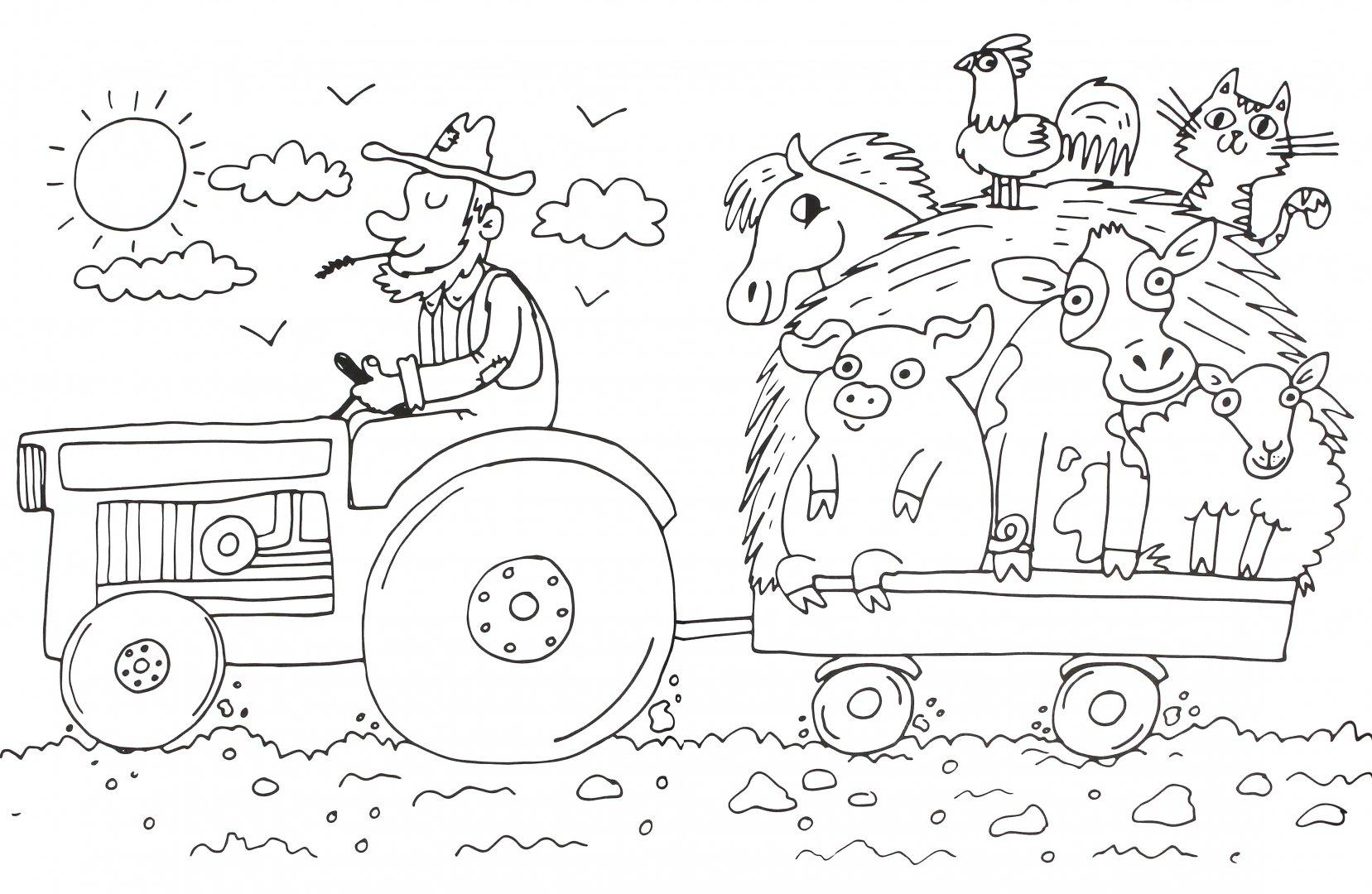 Трактор раскраска для малышей с прицепом