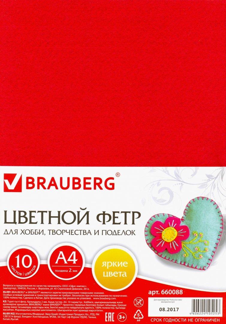 Иллюстрация 1 из 31 для Фетр цветной для творчества (А4, 10 листов, 10 цветов) (660088) | Лабиринт - игрушки. Источник: Лабиринт